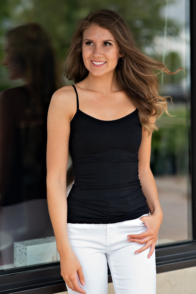 Paige Seamless Basic Fitted Tank Top : Black