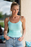 Paige Seamless Basic Fitted Tank Top : Aqua