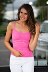 Paige Seamless Basic Fitted Tank Top : Pink