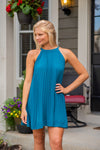 Drops Of Jupiter High Neck Dress : Teal Green