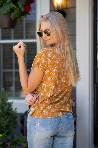 Fall fireworks V Neck Printed Top : Mustard