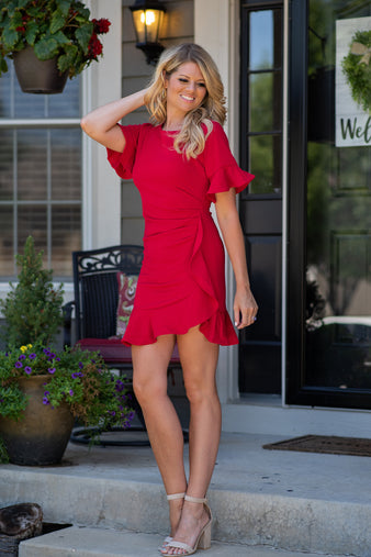 Last Dance Flounce Side Tuck Dress : Red