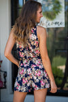 Rose Parade Floral Romper : Navy