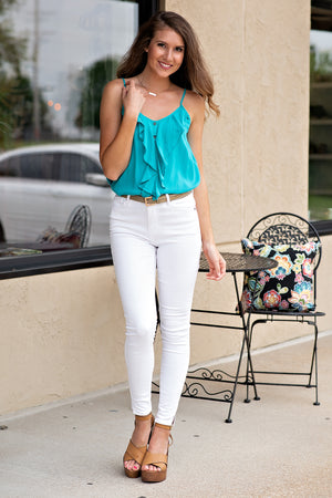 Party For The Day V Neck Ruffle Tank : Turquoise