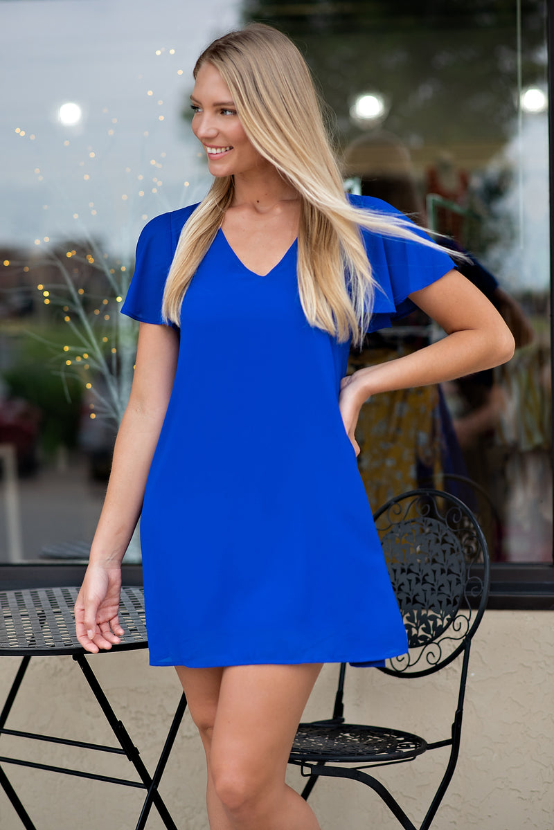 Effortless Style Flare Sleeve Dress : Neon Royal