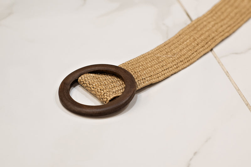 Never Belt Better Wood Circle Belt : Beige