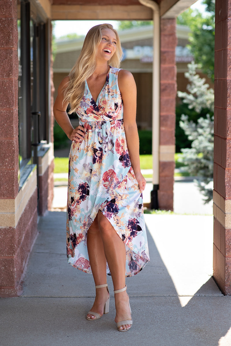 Water Color Fusion Floral Hi-Low Dress : Mint