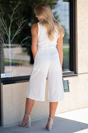 Power Move Jumpsuit w/ Front Keyhole & Side Tie: Off White