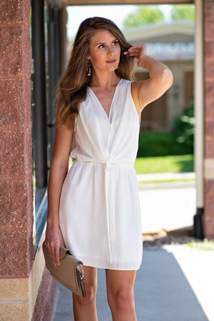 Eternally Yours Solid Ruffle Dress: White