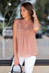 Unlikely Romance Woven Top with Lace: Rose
