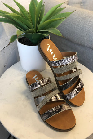 Very G Ginger 2 Slide Sandals : Pewter Snakeskin