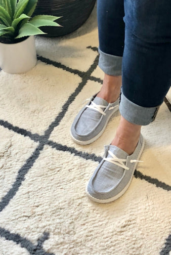 Gypsy Jazz Holly Slip On Boat Style Shoes : Light Grey