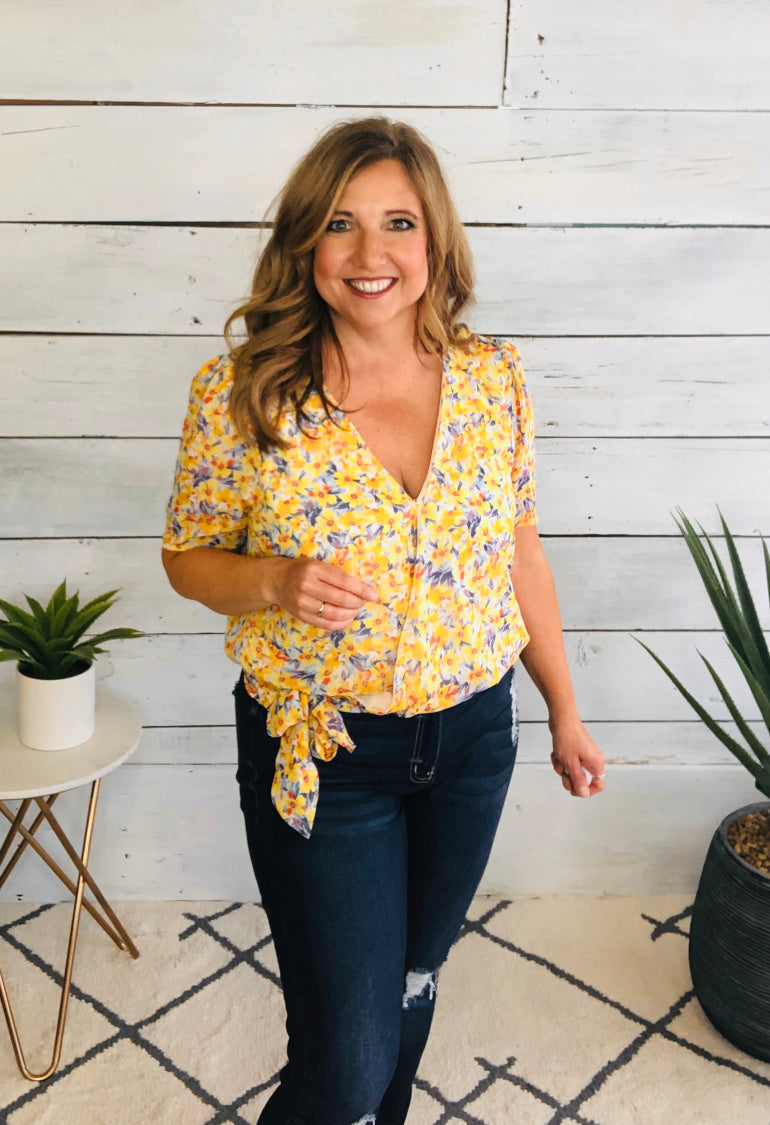 Sunny Afternoons Floral Wrap Top : Yellow