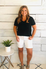 Lilly High Rise Bermuda Soft Jeans Shorts: White