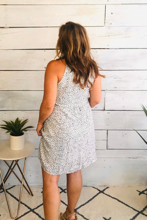 Spot You From Here Cinched Dress : Ivory/Black
