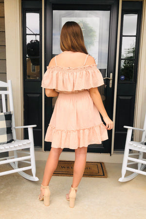 Stroll With You OTS Tiered Dress : Blush