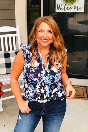 Moonlight Path Floral Top : Navy