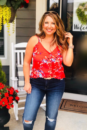 Better In Blooms Button Down Top : Red