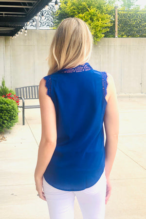 Weekend Welcome Lace Detail Top : Royal Blue