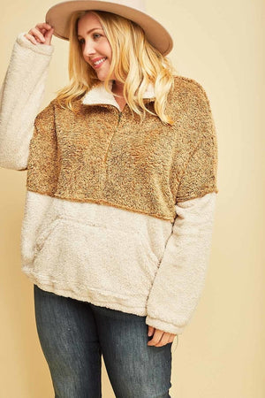 * Parting Ways Curvy Two Tone Sherpa - Rust