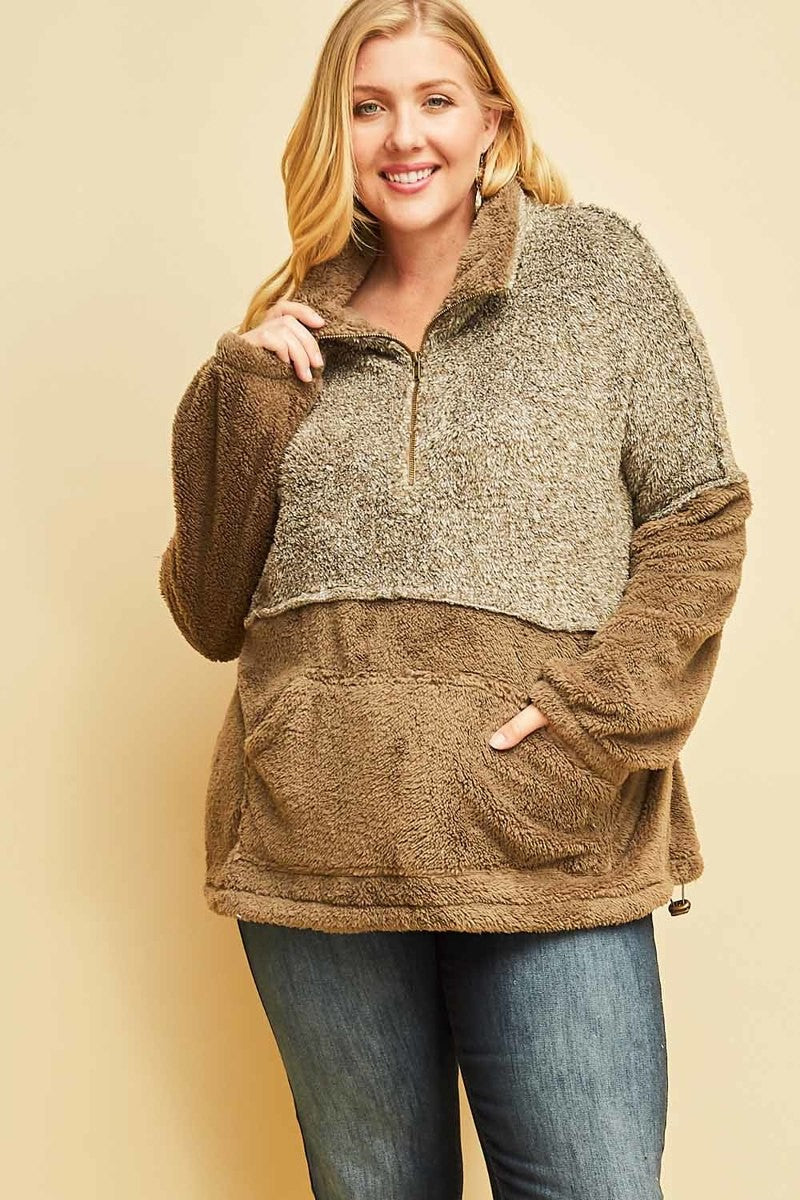 * Parting Ways Curvy Two Tone Sherpa - Mocha