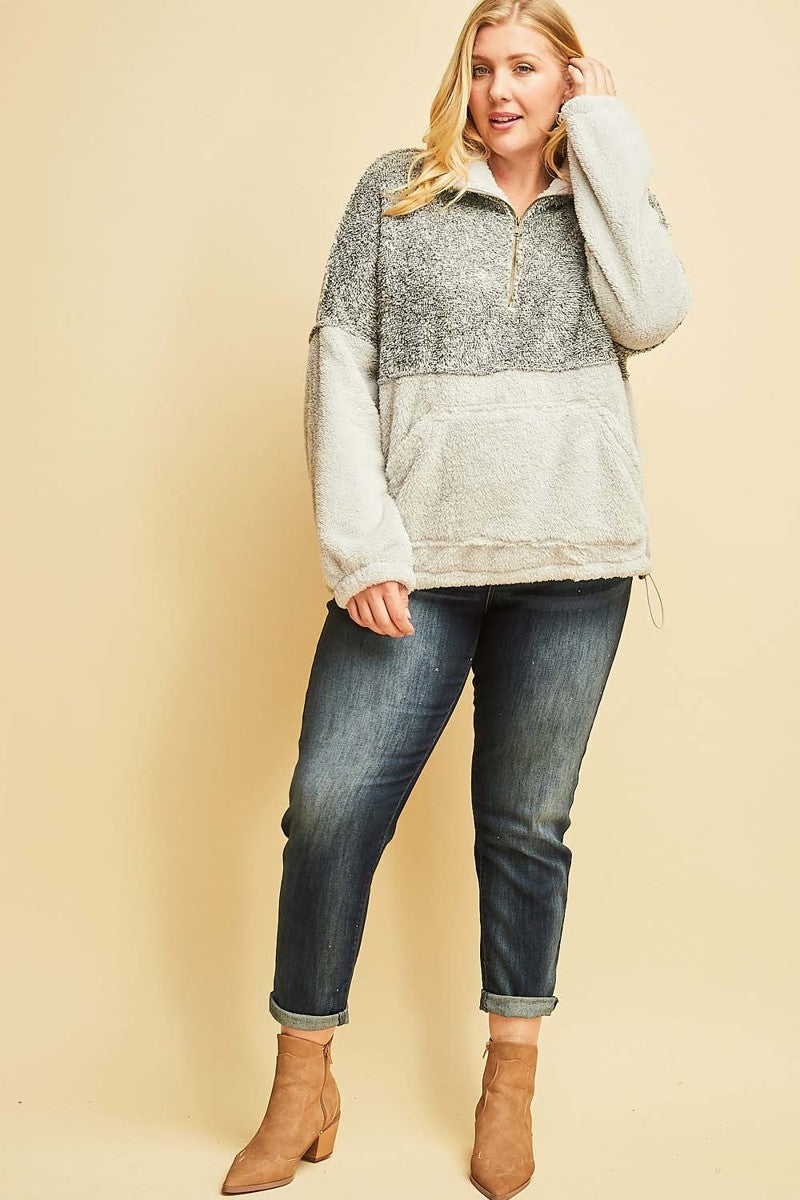 * Curvy Wonderful Time Of Year Pullover Sherpa: Grey