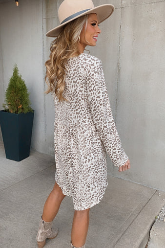 Hear Me Roar Leopard Print Dress : Mocha/Ivory