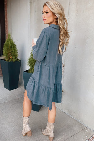 Only Believer Ruffle Denim Dress : Black