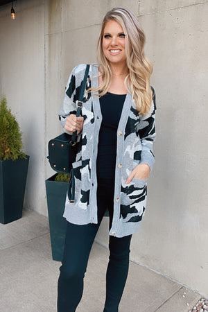 Can't Find You Camo Pocket Cardigan : Grey
