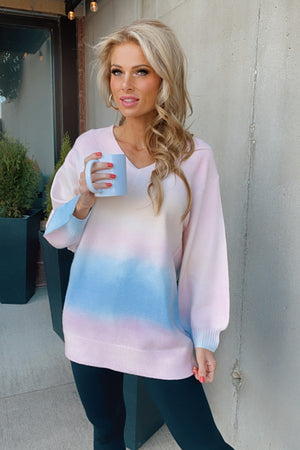 Sunset Talks Long Sleeve V-Neck Sweater : Pink