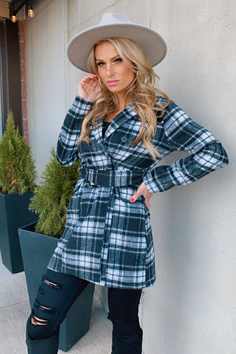 Simply Charming Plaid Button/Belted Coat : Black