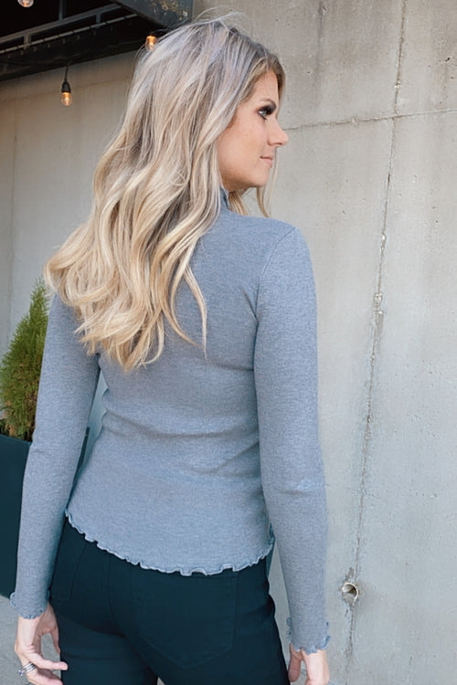 Paired With You Mini Ruffle Fitted Top : Grey