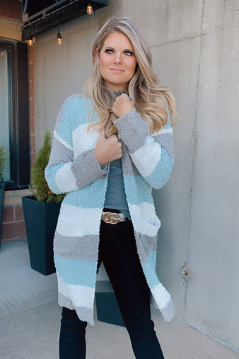 Believe In Yourself Color Block Cardigan : Mint