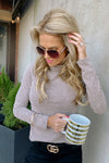 Feels So Right Long Sleeve Turtle Neck Top : Mocha