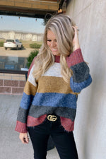 Playful Personality Color Block Sweater : Burgundy Combo