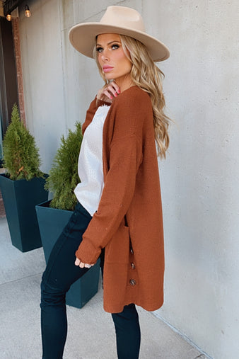 Thanks To Your Love Open Front Cardigan : Rust