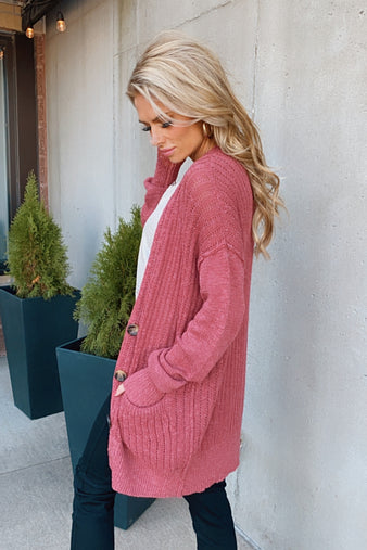 After The Sunset Button Knit Cardigan : Rose