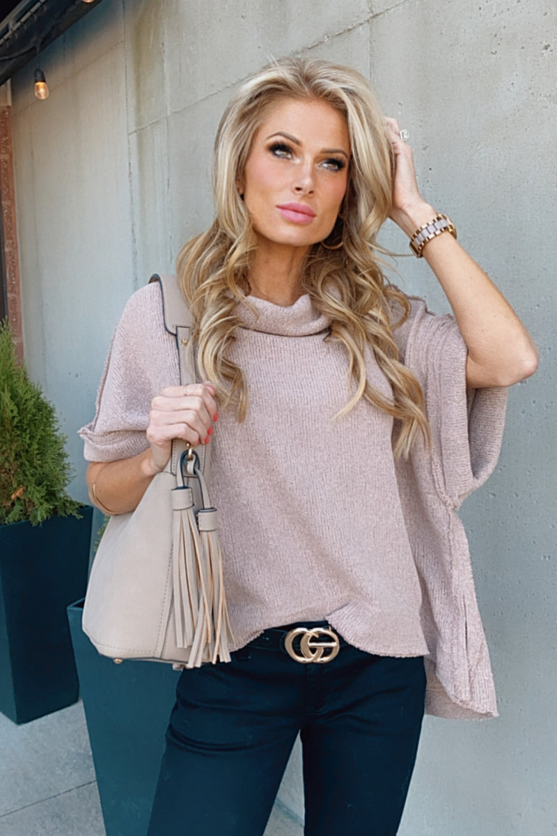 Let's Start Again Short Sleeve Sweater : Mauve