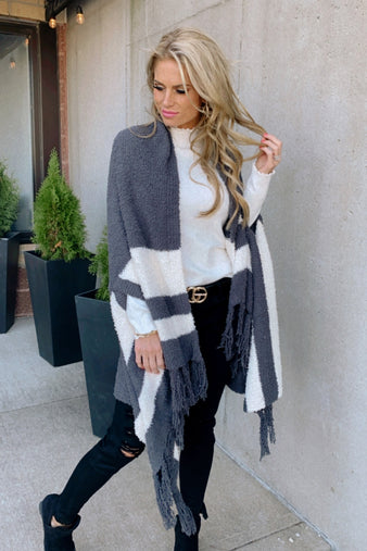 This Love I've Found Poncho Cardigan : Charcoal