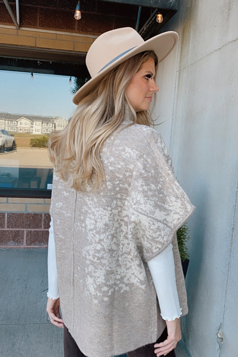 Sweet Gestures Turtle Neck Poncho : Taupe