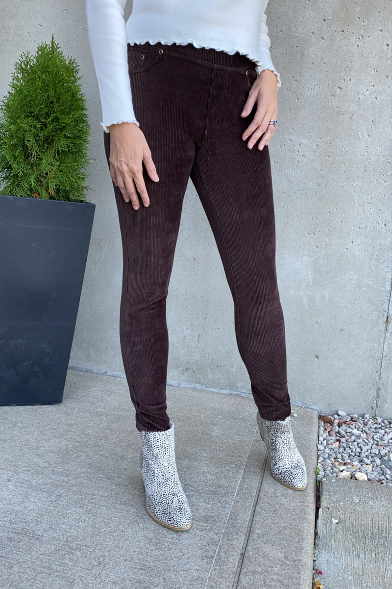 Hello Fall Corduroy Knit Leggings : Brown
