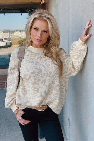 Queen Of The Jungle Leopard Balloon Sleeve Sweater : Taupe
