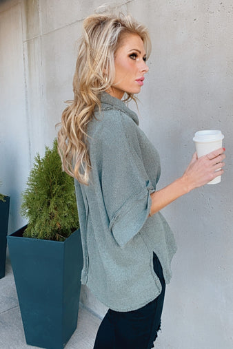 Let's Start Again Short Sleeve Sweater : Faded Olive