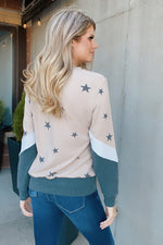 Over The Moon Star Color Block Pullover : Khaki