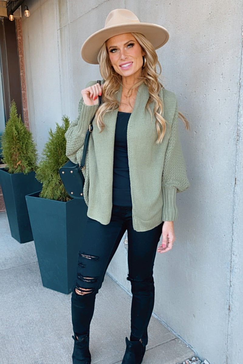 Show Me Some Affection Dolman Sleeve Cardigan : Army Green