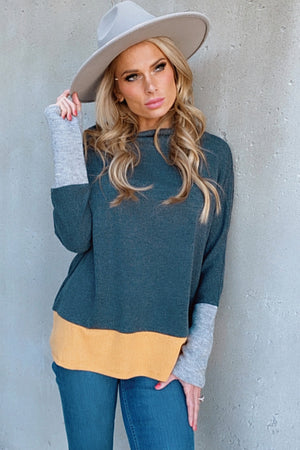 Blossoming Love High Neck Long Sleeve Top : Grey