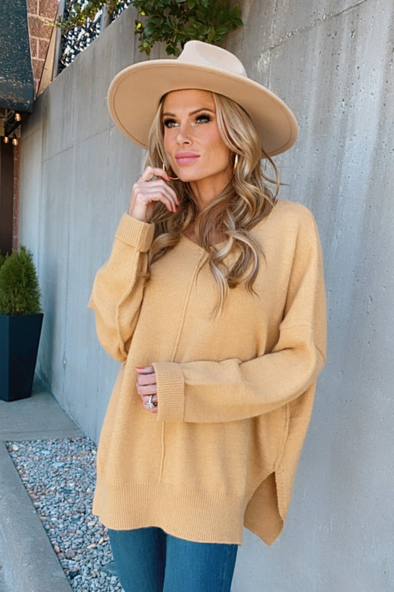 Autumn Breeze V-Neck Sweater : Mustard