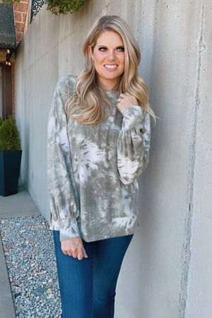 Love Language Brushed Tie Dye Top : Olive