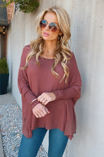 Keep Your Promise Waffle Knit Tunic Top : Red Brown
