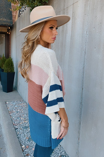 Have A Good Time Color Block 3/4 Cardigan: Multi